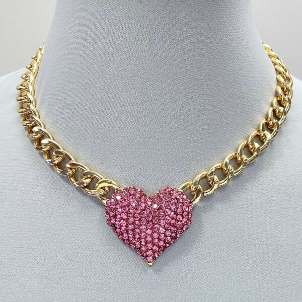 Gold Tone Cuban Link Chain Pink Rhinestones Heart Love Shape Pendant Necklace $11.29