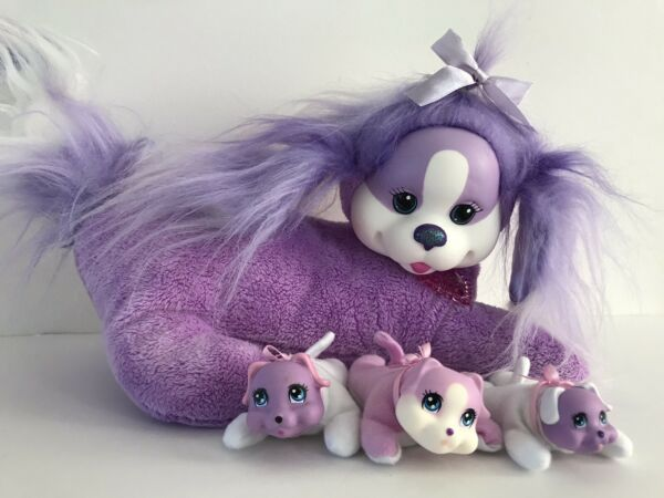 Puppy Surprise Purple Dog with 3 Puppies Babies Plush Stuffed Animal Just Play $19.99