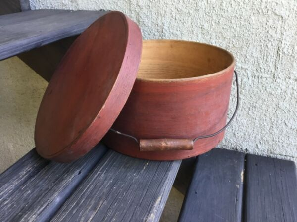 Beautiful 1800's Thick Walled Bale Handled Pantry Box Red Paint 11 1 4""