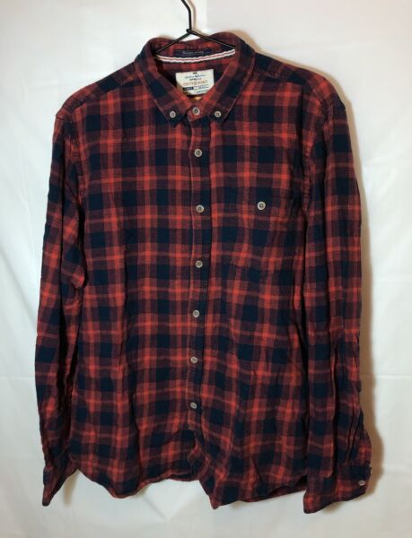 On The Road Men's Red Plaid Flannel Shirt Slim Fit Size L Large 42 $15.50