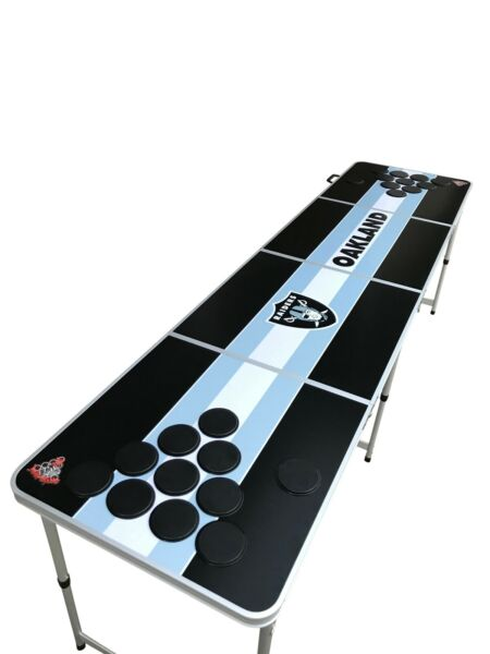 Oakland Las Vegas Raiders Silver Black Beer Pong Table with Holes