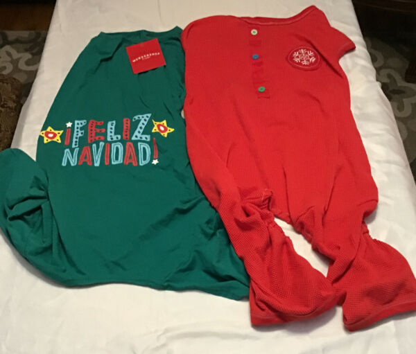 TWO DOG CHRISTMAS PAJAMAS XL 26 INCH LONG NECK TAIL 1 RED AND 1 GREEN $12.00