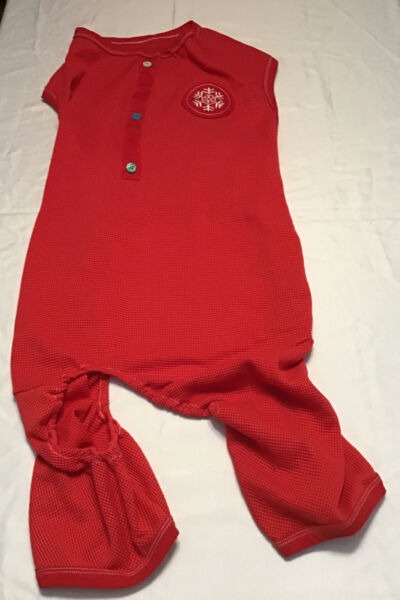 """NEW DOG CHRISTMAS PAJAMAS XL 26"""" INCH LONG NECK TAIL RED $8.00"""