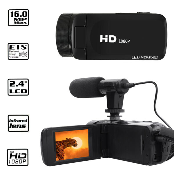 HD 1080P Digital Video Camera Camcorder YouTube Vlogging Recorder W Microphone