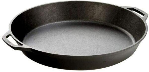 Lodge Seasoned Cast Iron Skillet with 2 Loop Handles 17 Inch Ergonomic Frying