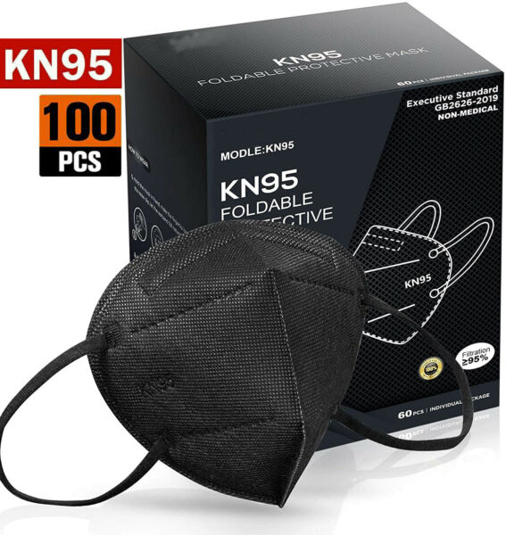100 Pcs Black Color KN95 Protective 5 Layer Face Mask Disposable K N95 Marks