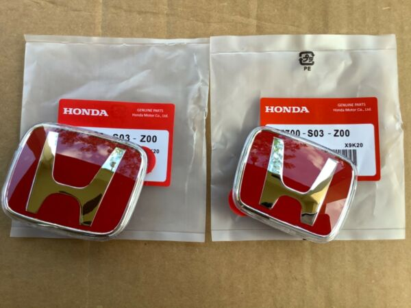 96 00 Honda Civic EK JDM RED H Type R Front Rear Emblem 2PCS Set 92 95 Accord