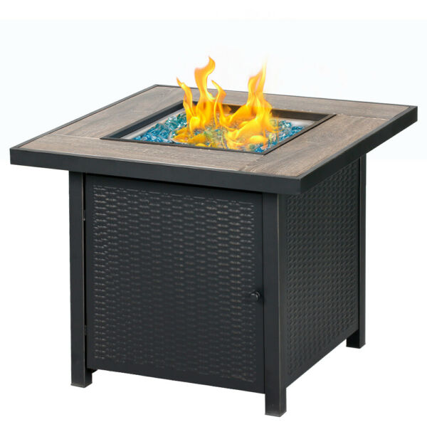 BALI OUTDOORS 30quot; Square LP Gas Fire Table Propane Gas Fireplace with Blue Glass