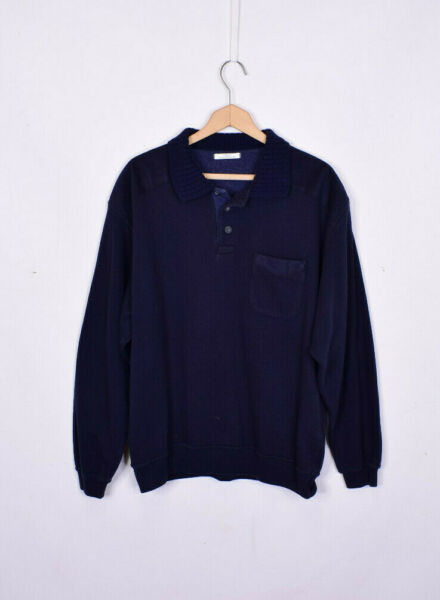 Vintage 90s St Michael Navy Collared Sweater Large GBP 25.00