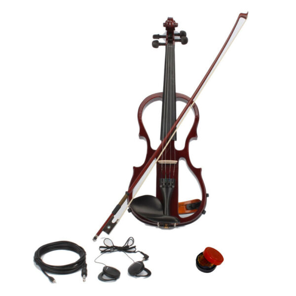 Full 4 4 Electric Silent Violin Case Bow Rosin Headphone Connecting Line Brown $68.99