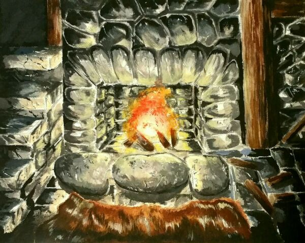 Oblivion Painting fireplace in bruma inn 8quot;x10quot; Acrylic On Canvas