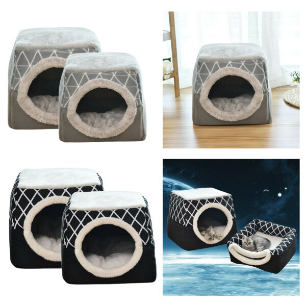 Soft Dogs Cats Pet House Sleeping Bed Kennel Puppy Cave Warm Nest Mat Pad $24.87
