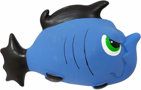 Scoochie Pet Premium 7.5 inch Latex Blue Angry Fish Dog Tough Dog Toy Squeaker $11.00