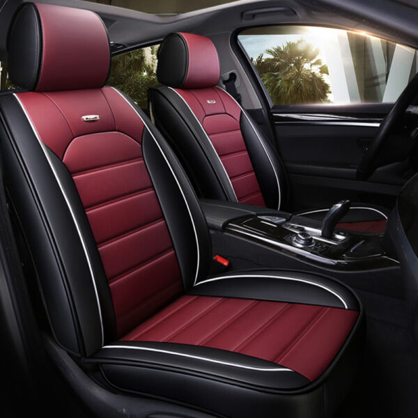5 Layer Car Seat Cover Full Set Waterproof Leather Universal for Sedan SUV Truck $75.99