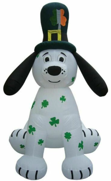 8FT Irish Leprechaun Puppy Dog St. Patrick#x27;s Day Airblown Inflatable Lighted $99.90