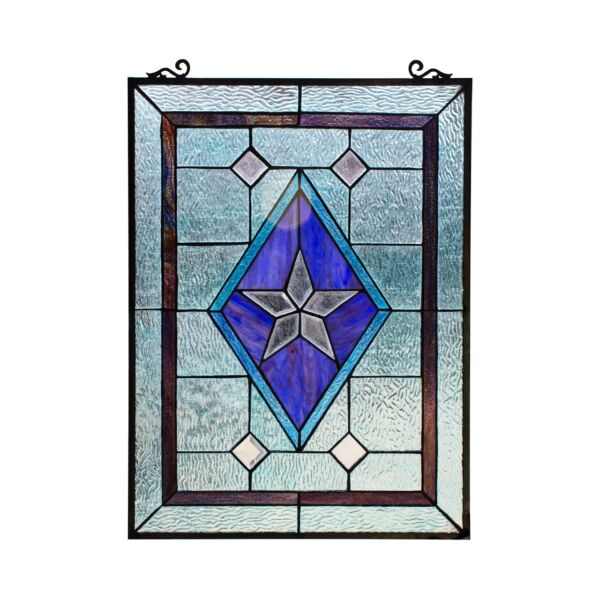 24quot; x 18quot; Victorian Star Stained Glass Tiffany Style Window Panel