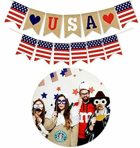 USA Burlap Flags Bunting Banner Hanging Decor American National Day Party Decora