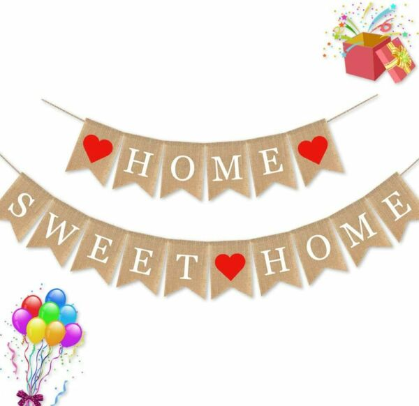 Burlap Home Sweet Home Banner Housewarming Party Garland Supplies Decoration