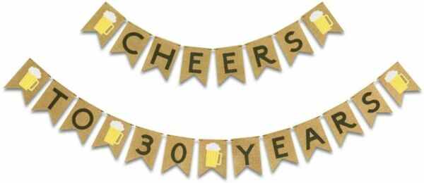 Cheers to 30 Years Banner Burlap 30th Birthday Letter Pull Flag Party Beer Party