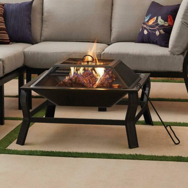 Wood Burning Patio Fire Pit Set With Mesh Screen Poker Wood Grate And Cover 30quot;