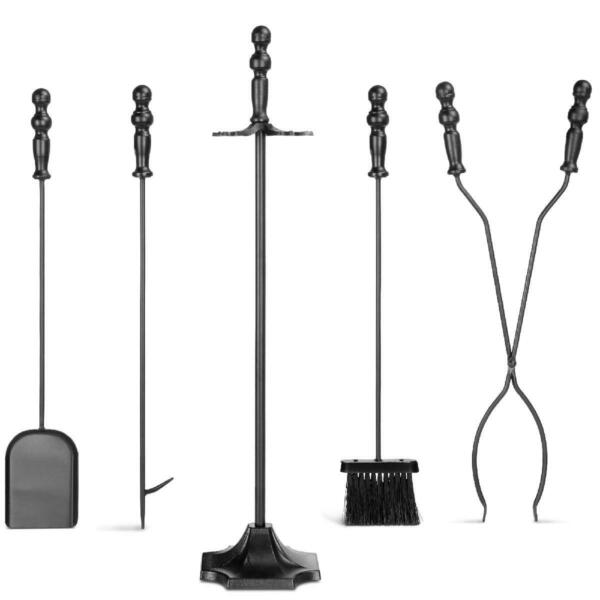 5 Piece Fireplace Iron Tool Set w Tongs Poker Broom Shovel Stand Indoor Outdoor