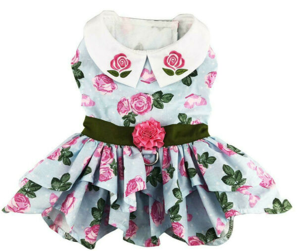 Dog Dress chihuahua yorkie poodle toy Dog Designer Dress with Leash Pink Roses $29.99