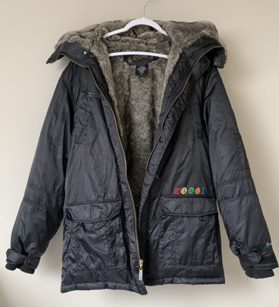 COOGI Black Down Filled Puffer Jacket Faux Fur Hood Small $40.00