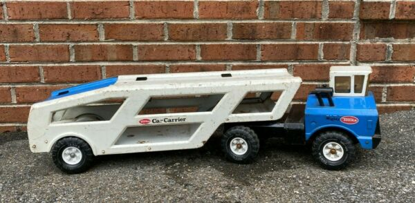 Vintage Tonka Mighty Blue and White Car Carrier Transport MR970 Tractor Trailer $119.95