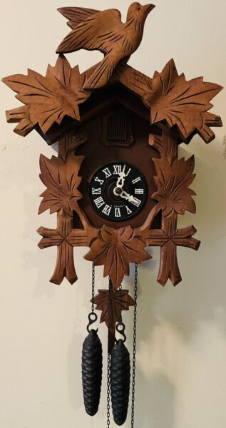 Vintage 1 Day Black Forest Cuckoo Clock Bird and Leaves 12quot; x 9quot; Serviced