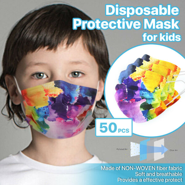 For KID 50 PCS Stylish Disposable Face Mask 3 Ply Non Medical Cover Petals