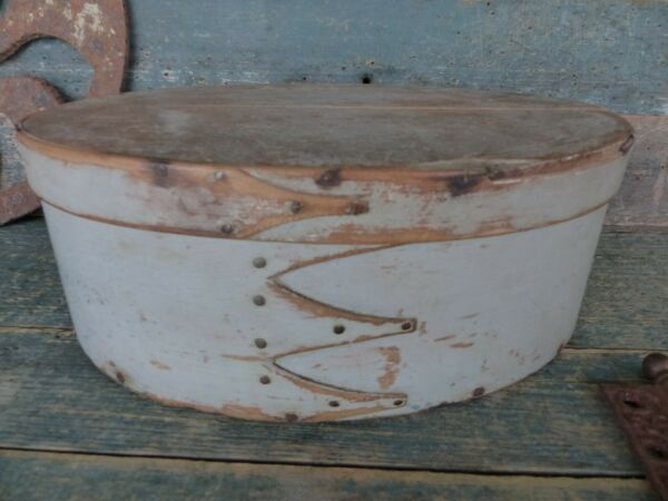 antique primitive shaker 4 finger oval bentwood pantry box original gray paint
