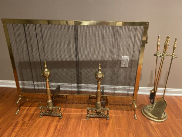 Vintage Fireplace Screen Andirons and Tool Set
