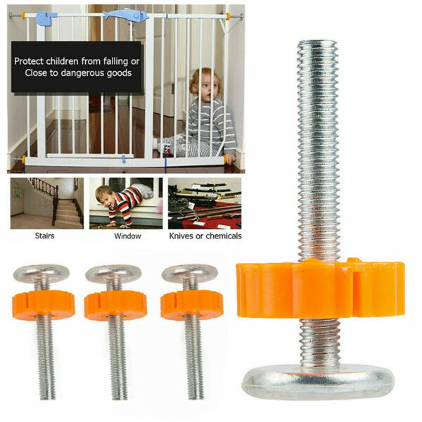 Baby Safety Stairs Gate Screws Bolts with Locking Nut Spare Part Accessorie 4pcs