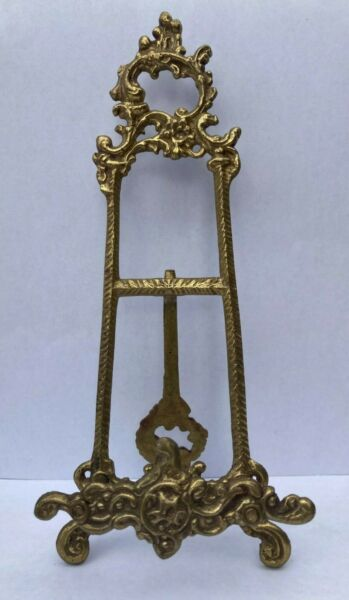 """Vintage Brass Ornate Easel Picture Frame Made In India 9"""" Tall Display Stand"""