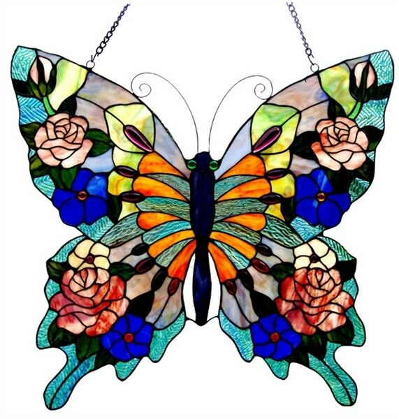 21quot; H Tiffany Style Butterfly Beauty Stained Glass Window Panel