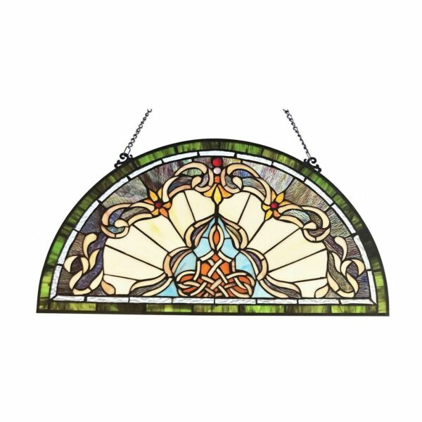 24quot; H Tiffany Style Victorian Stained Glass Window Panel Demi Lune Half Moon