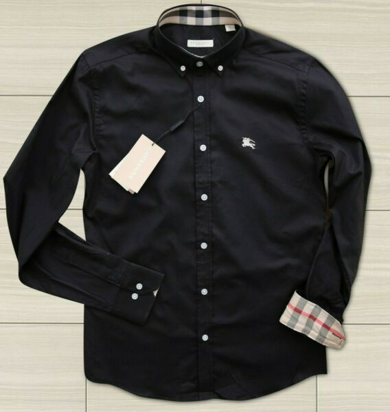BURBERRY SHIRT MEN BLACK SIZE M CHECKED ON CUFFS AND COLLAR LOGO GENUINE $79.00