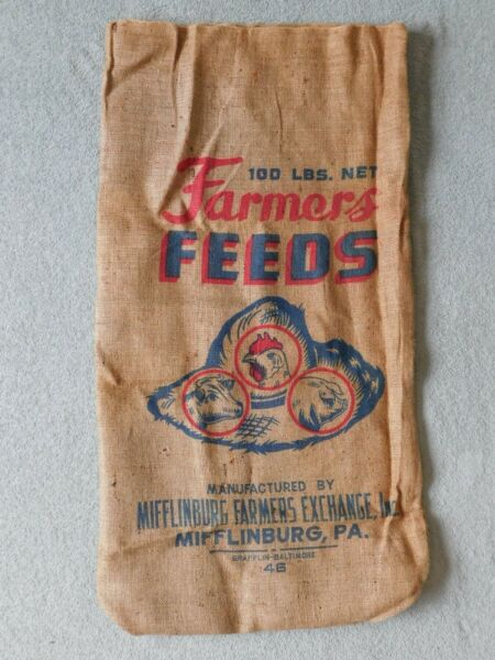 Vintage Miffliburg Farmers Exchange Burlap Bag With Advertising