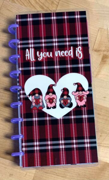 Gnomes Valentine Plaid LOVE Cover Set 4 use with Half Sheet NB Happy Planner $12.96