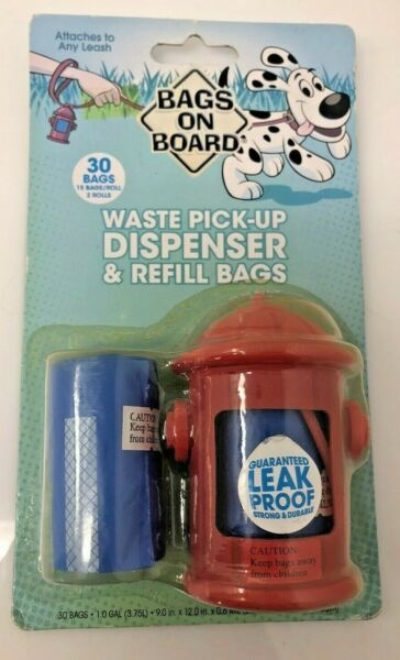 Bags on Board Dog Poop Waste Bag Dispenser and 30 Refill Bags RED HYDRANT $8.99