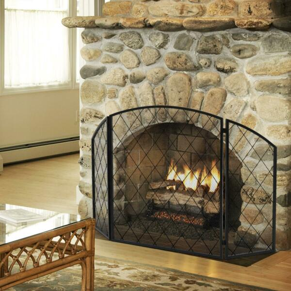 50x30in Fireplace Screen Three Panel Indoor Living Room Iron Black Folding Side