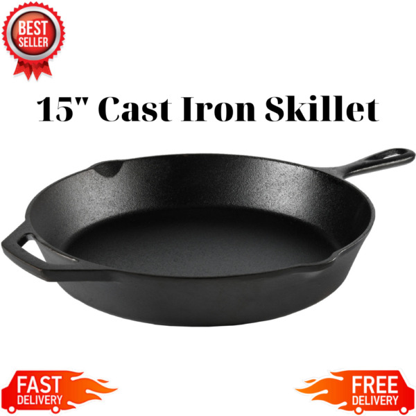 Cast Iron Skillet 15quot; Large Oven Frying Pan Pot Non Stick Cookware Pre seasoned