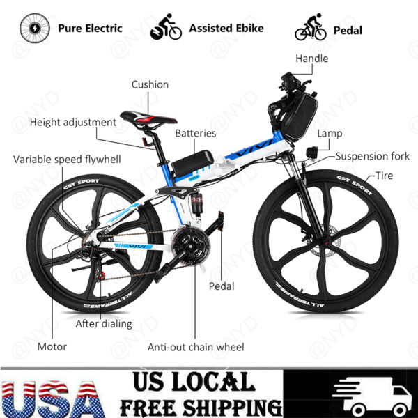 Electric Mountain Bike for Adults 350W Ebike 26#x27;#x27; Bicycle Full Suspension Durabl $709.99