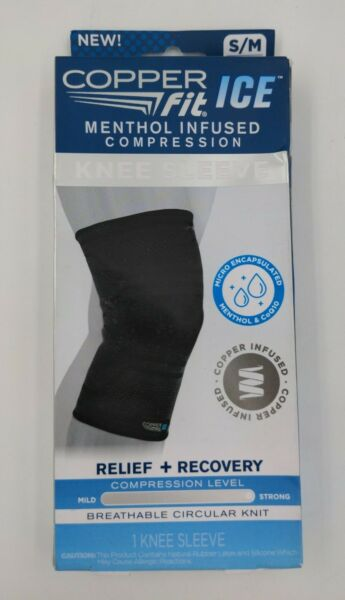 COPPER FIT ICE MENTHOL INFUSED COMPRESSION KNEE SLEEVE S M 12quot; 16quot;