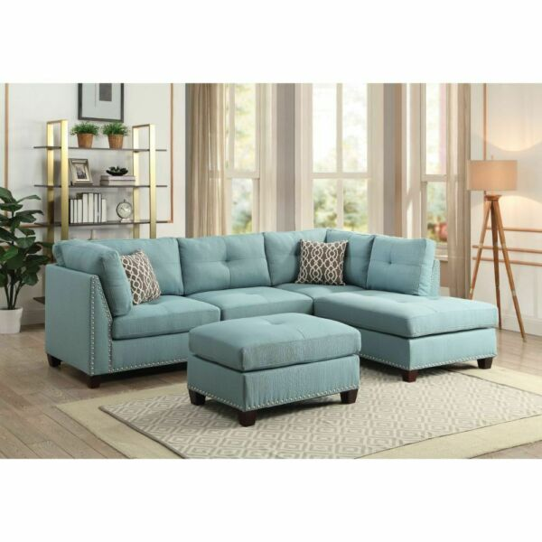 Light Teal Linen Contemporary Living Room Furniture Sectional Sofa Wooden Leg $1549.99
