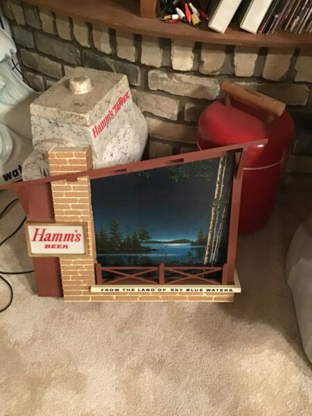 Vintage Hamm's Beer Lighted Motion Sign Large Starry Nights