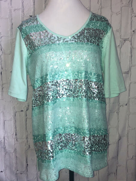 Quacker Factory Large Teal Lace And Sequined Short Sleeved Top
