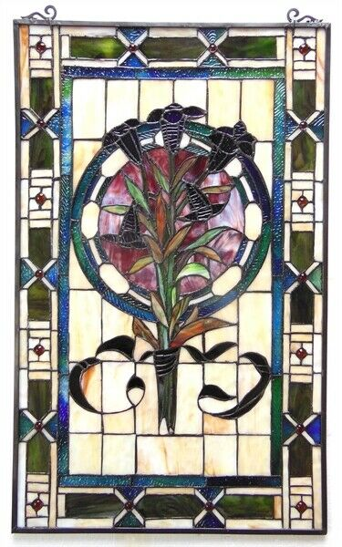 32quot; x 20quot; Floral Boquet Tiffany Style Stained Glass Window Panel w Chain