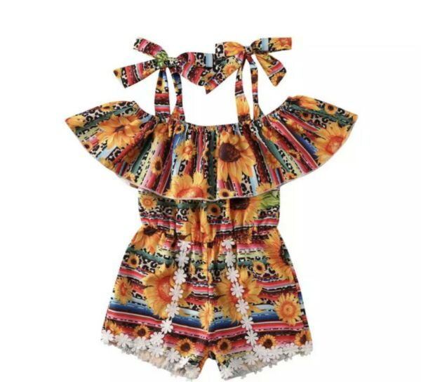 ❤️ Newborn Baby Girls Sunflower Romper Tops Jumpsuit Shorts Outfit