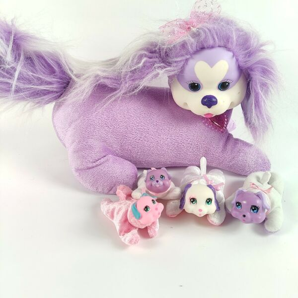 Puppy Surprise Coco Purple White Plush Dog with 4 Puppies 2015 Stuffed Animal $24.99